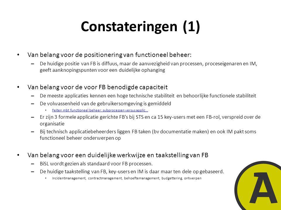 20 november 201410 | © Twynstra Gudde | Constateringen (1) Van belang voor de positionering van functioneel beheer: – De huidige positie van FB is diffuus, maar de aanwezigheid van processen, proceseigenaren en IM, geeft aanknopingspunten voor een duidelijke ophanging Van belang voor de voor FB benodigde capaciteit – De meeste applicaties kennen een hoge technische stabiliteit en behoorlijke functionele stabiliteit – De volwassenheid van de gebruikersomgeving is gemiddeld Feiten mbt functioneel beheer: subprocessen versus applic...