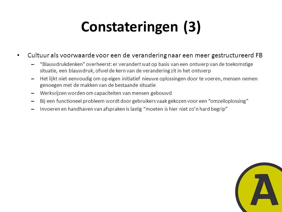 20 november 201413 | © Twynstra Gudde | Constateringen (3) Cultuur als voorwaarde voor een de verandering naar een meer gestructureerd FB – Blauwdrukdenken overheerst: er verandert wat op basis van een ontwerp van de toekomstige situatie, een blauwdruk, ofwel de kern van de verandering zit in het ontwerp – Het lijkt niet eenvoudig om op eigen initiatief nieuwe oplossingen door te voeren, mensen nemen genoegen met de makken van de bestaande situatie – Werkwijzen worden om capaciteiten van mensen gebouwd – Bij een functioneel probleem wordt door gebruikers vaak gekozen voor een omzeiloplossing – Invoeren en handhaven van afspraken is lastig moeten is hier niet zo'n hard begrip