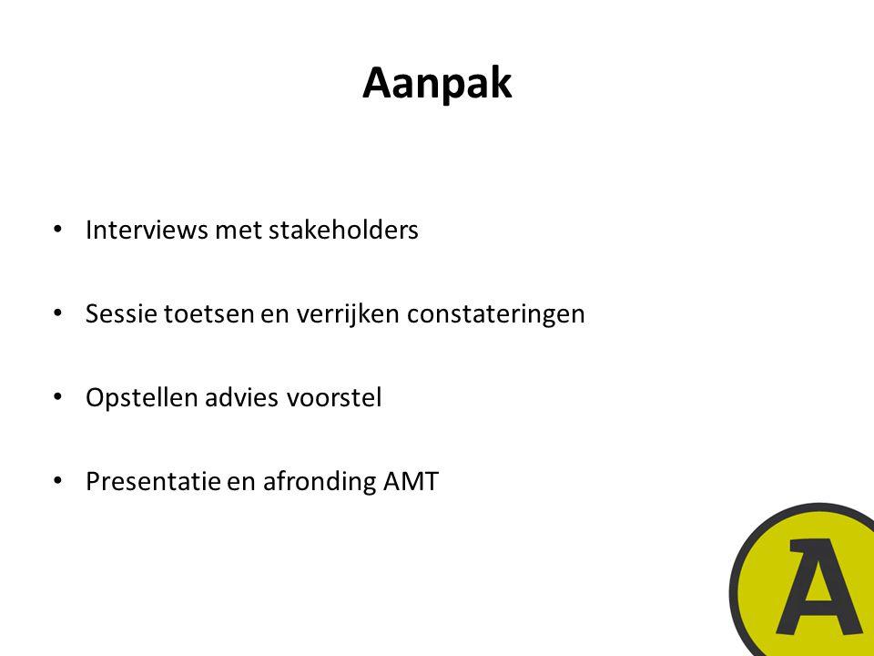 20 november 20149 | © Twynstra Gudde | Aanpak Interviews met stakeholders Sessie toetsen en verrijken constateringen Opstellen advies voorstel Presentatie en afronding AMT