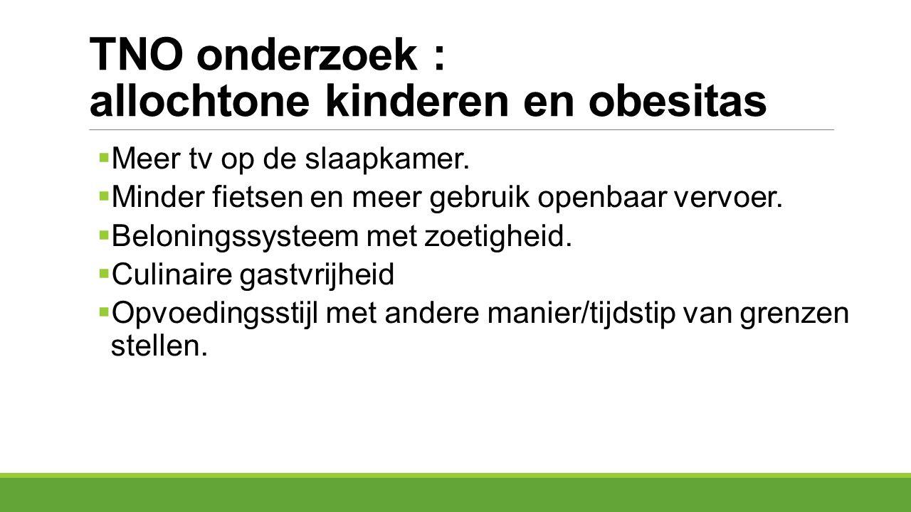 TNO onderzoek : allochtone kinderen en obesitas  Meer tv op de slaapkamer.  Minder fietsen en meer gebruik openbaar vervoer.  Beloningssysteem met