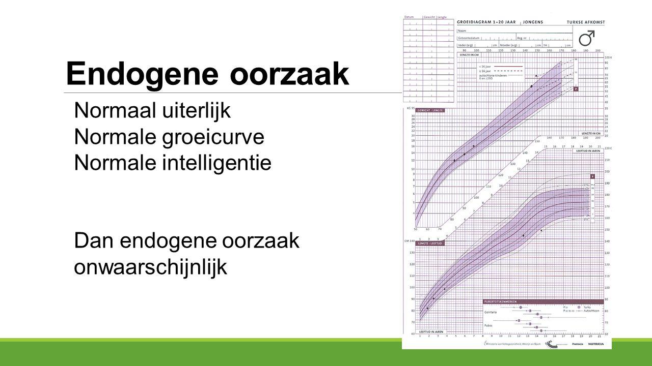 Endogene oorzaak Normaal uiterlijk Normale groeicurve Normale intelligentie Dan endogene oorzaak onwaarschijnlijk