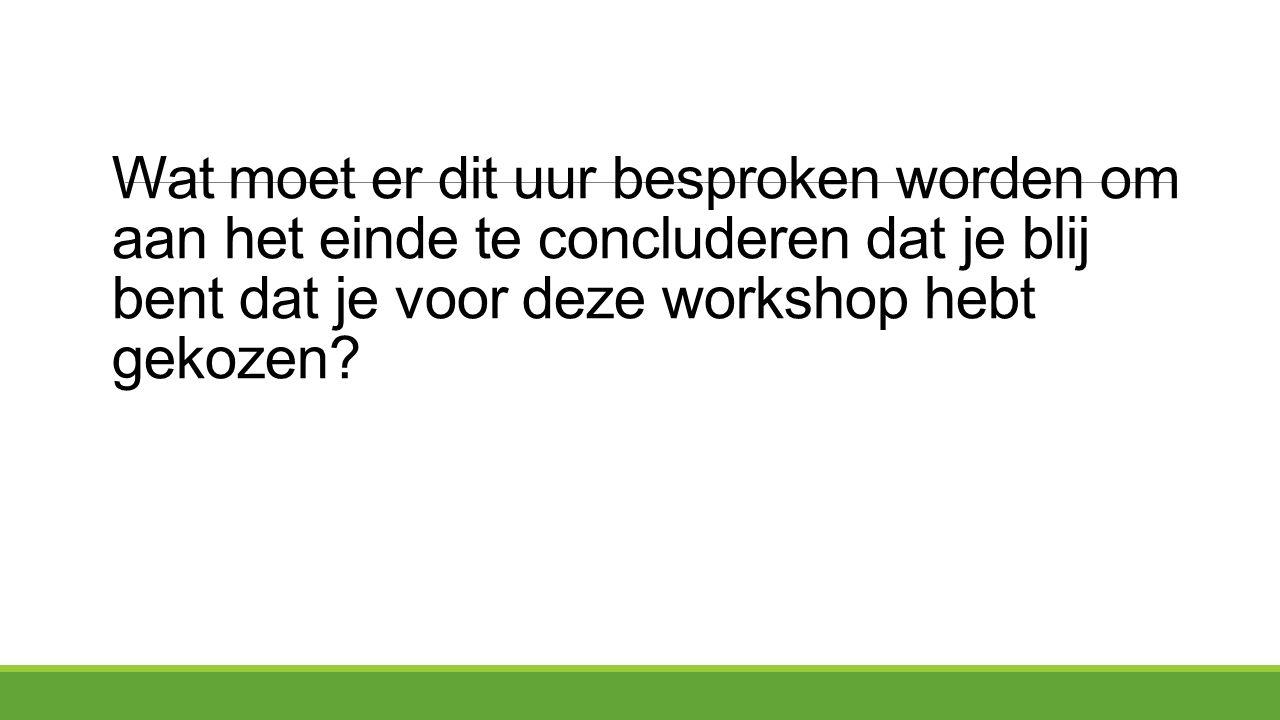 Wat moet er dit uur besproken worden om aan het einde te concluderen dat je blij bent dat je voor deze workshop hebt gekozen?