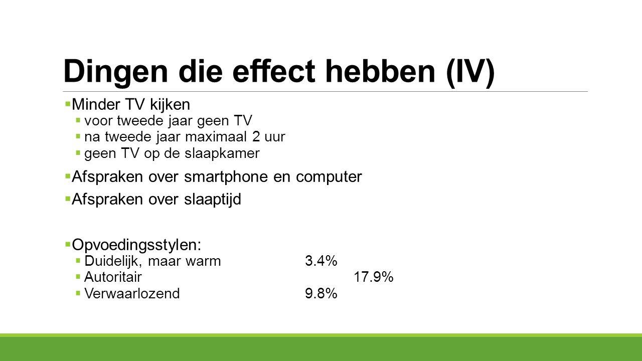 Dingen die effect hebben (IV)  Minder TV kijken  voor tweede jaar geen TV  na tweede jaar maximaal 2 uur  geen TV op de slaapkamer  Afspraken ove