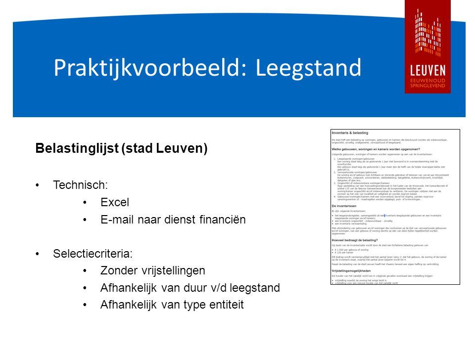Praktijkvoorbeeld: Leegstand Belastinglijst (stad Leuven) Technisch: Excel E-mail naar dienst financiën Selectiecriteria: Zonder vrijstellingen Afhankelijk van duur v/d leegstand Afhankelijk van type entiteit