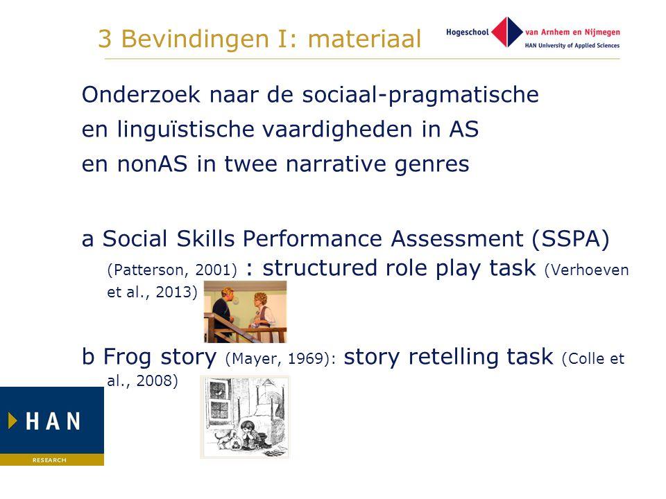 3 Bevindingen I: materiaal Onderzoek naar de sociaal-pragmatische en linguïstische vaardigheden in AS en nonAS in twee narrative genres a Social Skill