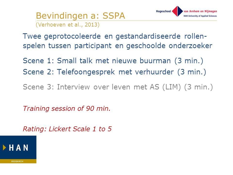 Bevindingen a: SSPA ] (Verhoeven et al., 2013) Twee geprotocoleerde en gestandardiseerde rollen- spelen tussen participant en geschoolde onderzoeker S