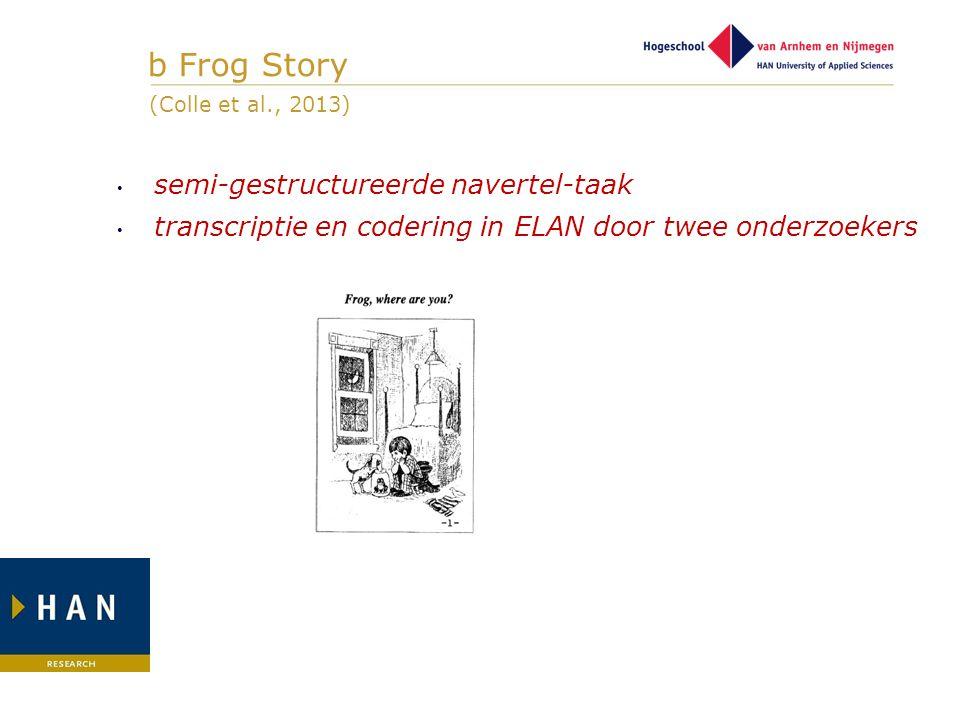 b Frog Story semi-gestructureerde navertel-taak transcriptie en codering in ELAN door twee onderzoekers (Colle et al., 2013)