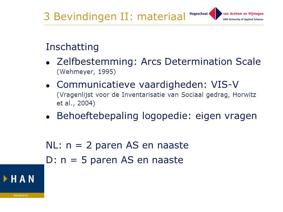 3 Bevindingen II: materiaal Inschatting Zelfbestemming: Arcs Determination Scale (Wehmeyer, 1995) Communicatieve vaardigheden: VIS-V (Vragenlijst voor
