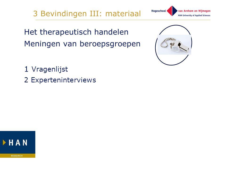 3 Bevindingen III: materiaal Het therapeutisch handelen Meningen van beroepsgroepen 1 Vragenlijst 2 Experteninterviews