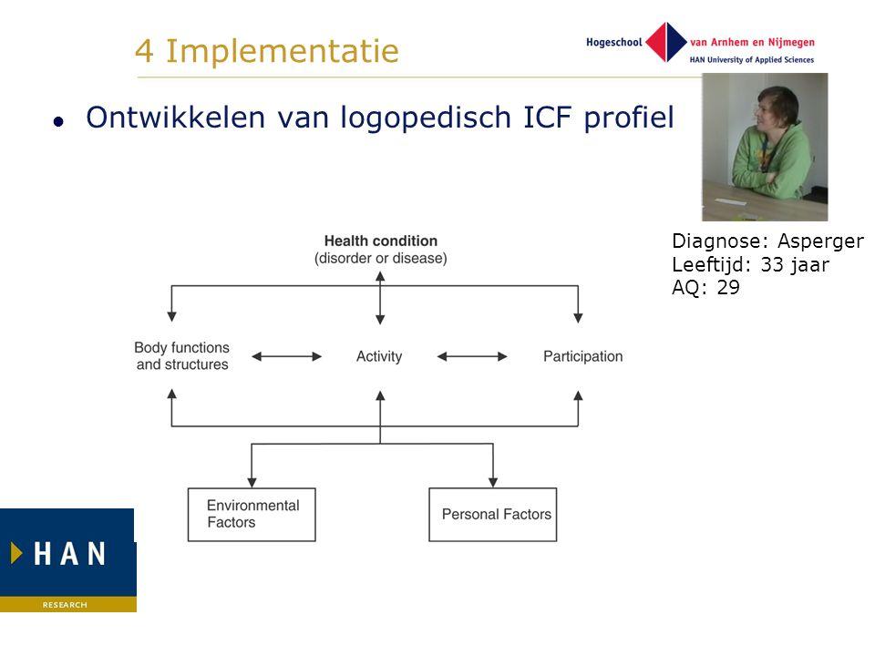 4 Implementatie Ontwikkelen van logopedisch ICF profiel Diagnose: Asperger Leeftijd: 33 jaar AQ: 29
