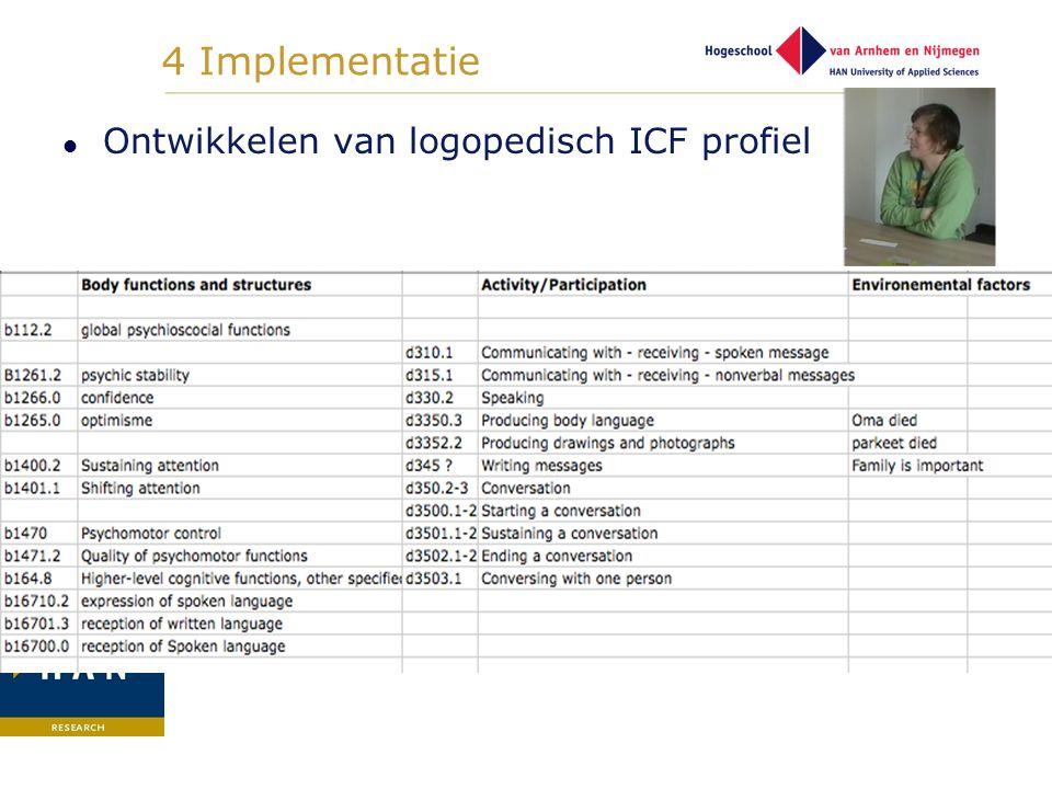 4 Implementatie Ontwikkelen van logopedisch ICF profiel