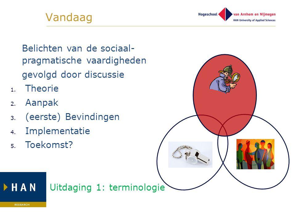 Vandaag Belichten van de sociaal- pragmatische vaardigheden gevolgd door discussie 1. Theorie 2. Aanpak 3. (eerste) Bevindingen 4. Implementatie 5. To