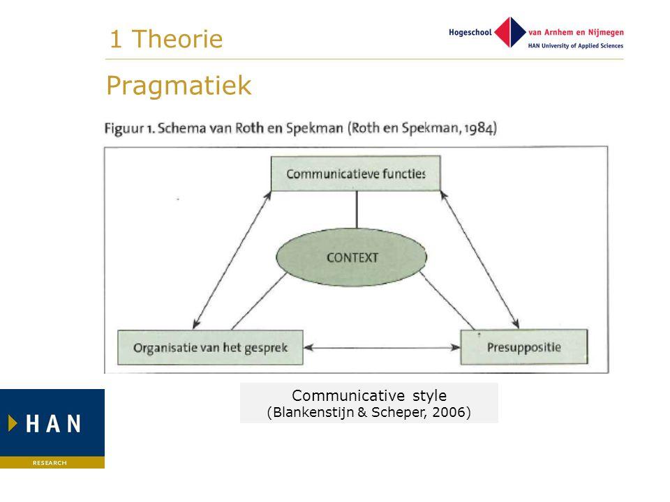 Pragmatiek Communicative style (Blankenstijn & Scheper, 2006) 1 Theorie
