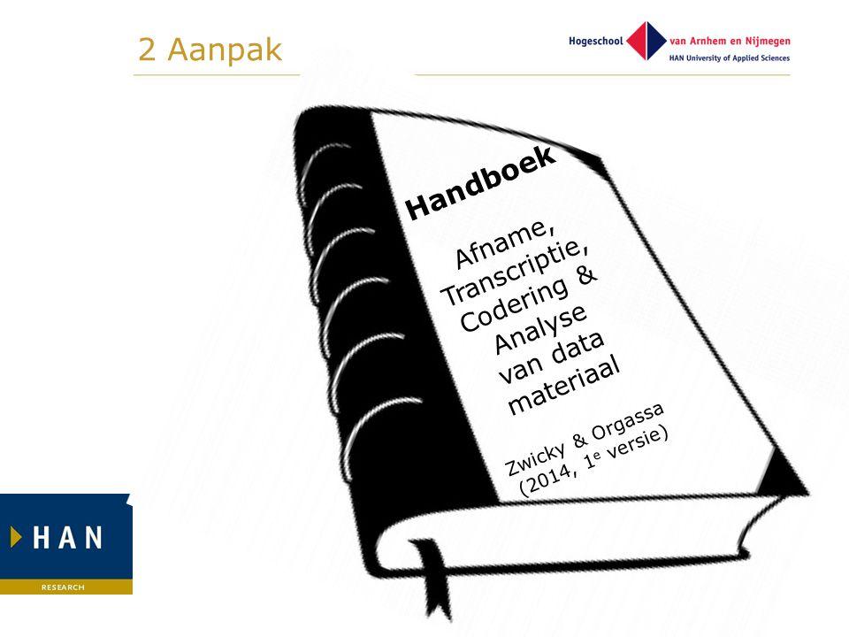 2 Aanpak Handboek Afname, Transcriptie, Codering & Analyse van data materiaal Zwicky & Orgassa (2014, 1 e versie)