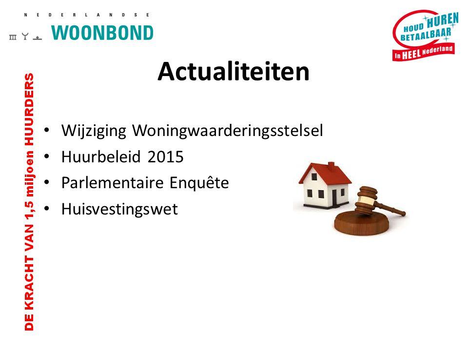 Wijziging WWS WOZ-waarde wordt onderdeel Woningwaarderingsstelsel Punten voor woonvorm, woonomgeving en schaarste wordt omgezet in WOZ-punten 25% van maximale huurprijs op basis van WOZ Ingangsdatum 1 juli 2015