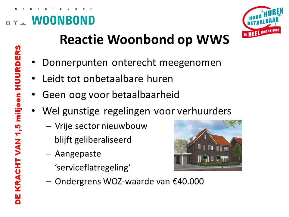 Reactie Woonbond op WWS Donnerpunten onterecht meegenomen Leidt tot onbetaalbare huren Geen oog voor betaalbaarheid Wel gunstige regelingen voor verhu