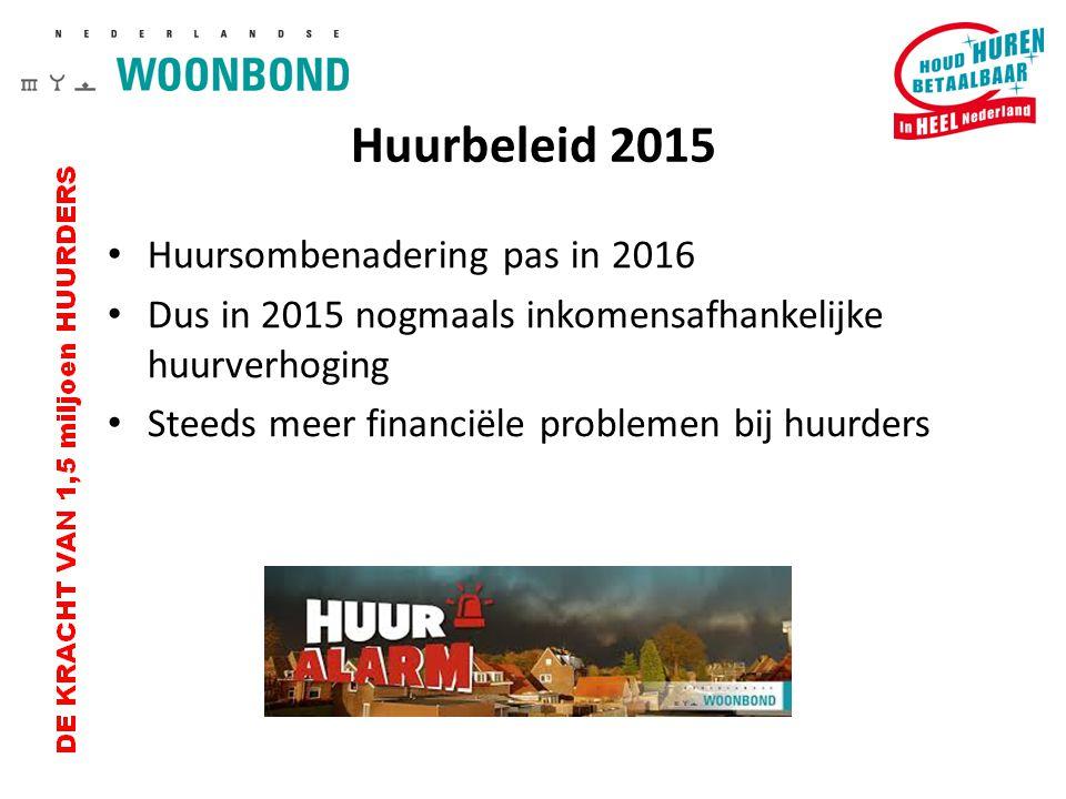 Huurbeleid 2015 Huursombenadering pas in 2016 Dus in 2015 nogmaals inkomensafhankelijke huurverhoging Steeds meer financiële problemen bij huurders