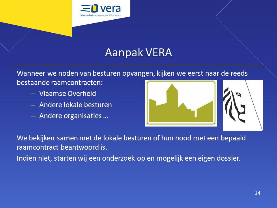 Aanpak VERA Wanneer we noden van besturen opvangen, kijken we eerst naar de reeds bestaande raamcontracten: – Vlaamse Overheid – Andere lokale besturen – Andere organisaties … We bekijken samen met de lokale besturen of hun nood met een bepaald raamcontract beantwoord is.