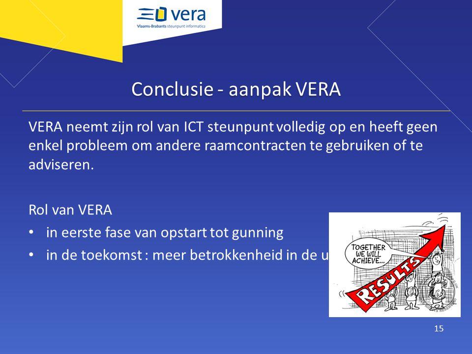 Conclusie - aanpak VERA VERA neemt zijn rol van ICT steunpunt volledig op en heeft geen enkel probleem om andere raamcontracten te gebruiken of te adviseren.