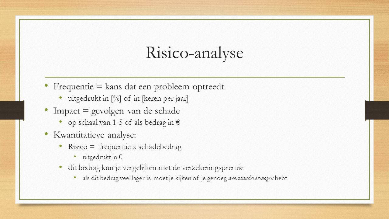 Risico-analyse Frequentie = kans dat een probleem optreedt uitgedrukt in [%] of in [keren per jaar] Impact = gevolgen van de schade op schaal van 1-5