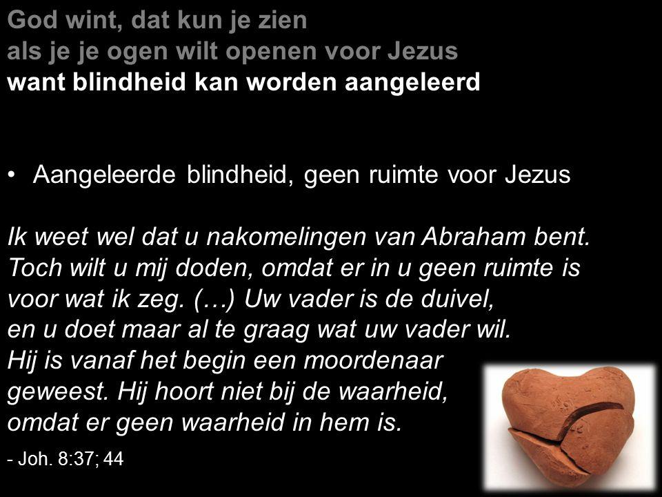 God wint, dat kun je zien als je je ogen wilt openen voor Jezus want blindheid kan worden aangeleerd Aangeleerde blindheid, geen ruimte voor Jezus Ik