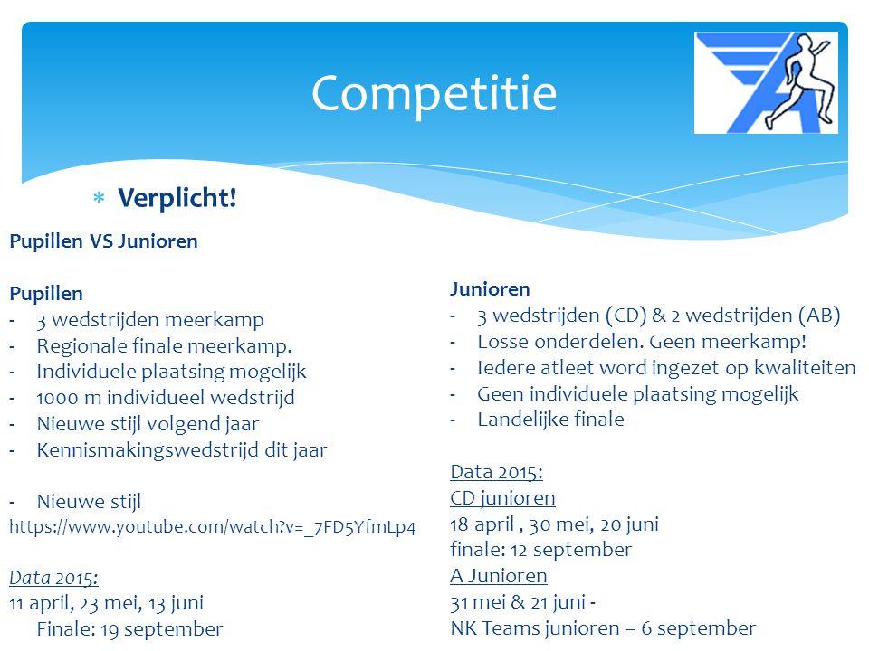  Verplicht! Competitie Pupillen VS Junioren Pupillen -3 wedstrijden meerkamp -Regionale finale meerkamp. -Individuele plaatsing mogelijk -1000 m indi