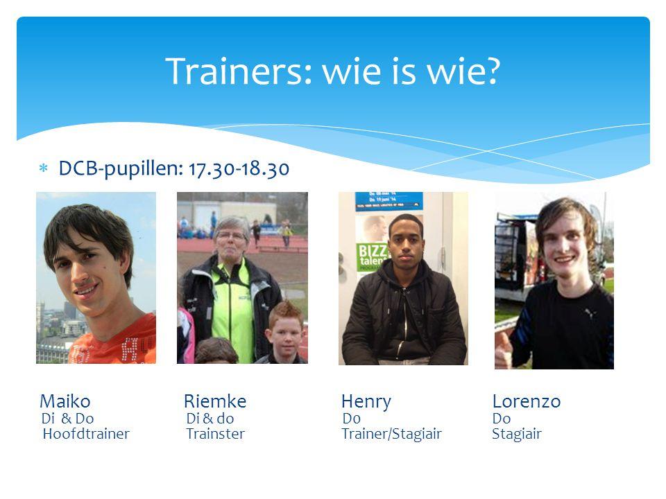  A-pupillen: 18.30- 19.30 MaikoHenryEdwinMiouSuzanne Di & doDi & doDi DoDi en Do HoofdtrainerTrainer/stagiairTrainerTrainster Assistent-trainster Trainers: wie is wie?