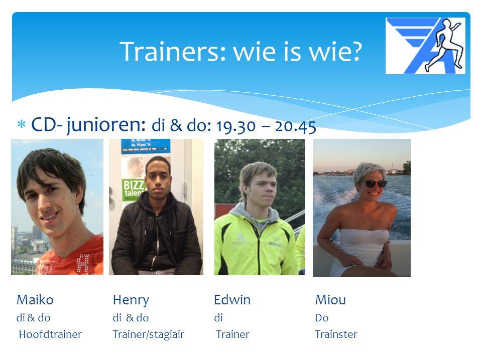  CD- junioren: di & do: 19.30 – 20.45 MaikoHenry Edwin Miou di & do di & do di Do Hoofdtrainer Trainer/stagiair Trainer Trainster Trainers: wie is wi