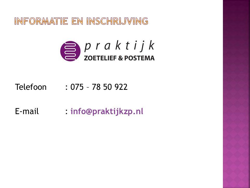 Telefoon: 075 – 78 50 922 E-mail: info@praktijkzp.nl