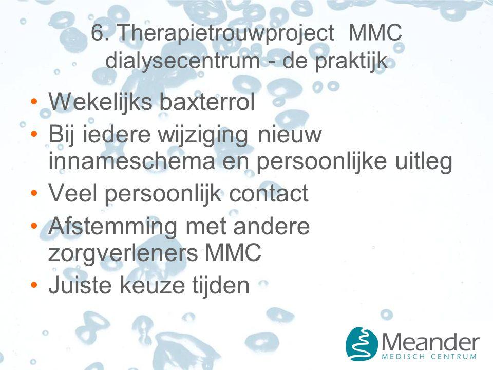 6. Therapietrouwproject MMC dialysecentrum - de praktijk Wekelijks baxterrol Bij iedere wijziging nieuw innameschema en persoonlijke uitleg Veel perso