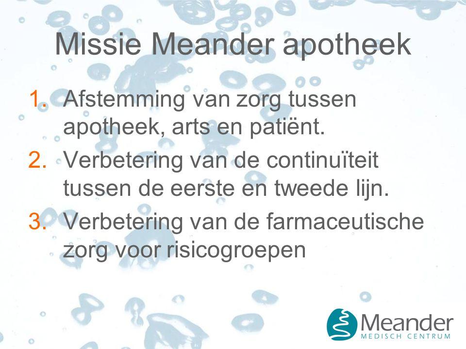 Missie Meander apotheek 1.Afstemming van zorg tussen apotheek, arts en patiënt.