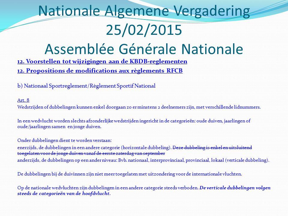 12. Voorstellen tot wijzigingen aan de KBDB-reglementen 12. Propositions de modifications aux règlements RFCB b) Nationaal Sportreglement/Règlement Sp