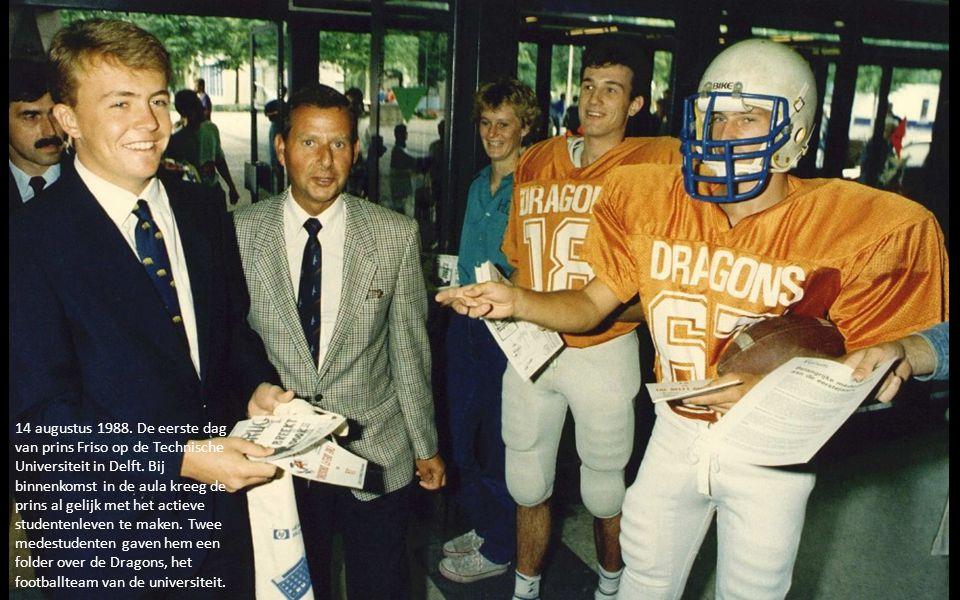 14 augustus 1988.De eerste dag van prins Friso op de Technische Universiteit in Delft.