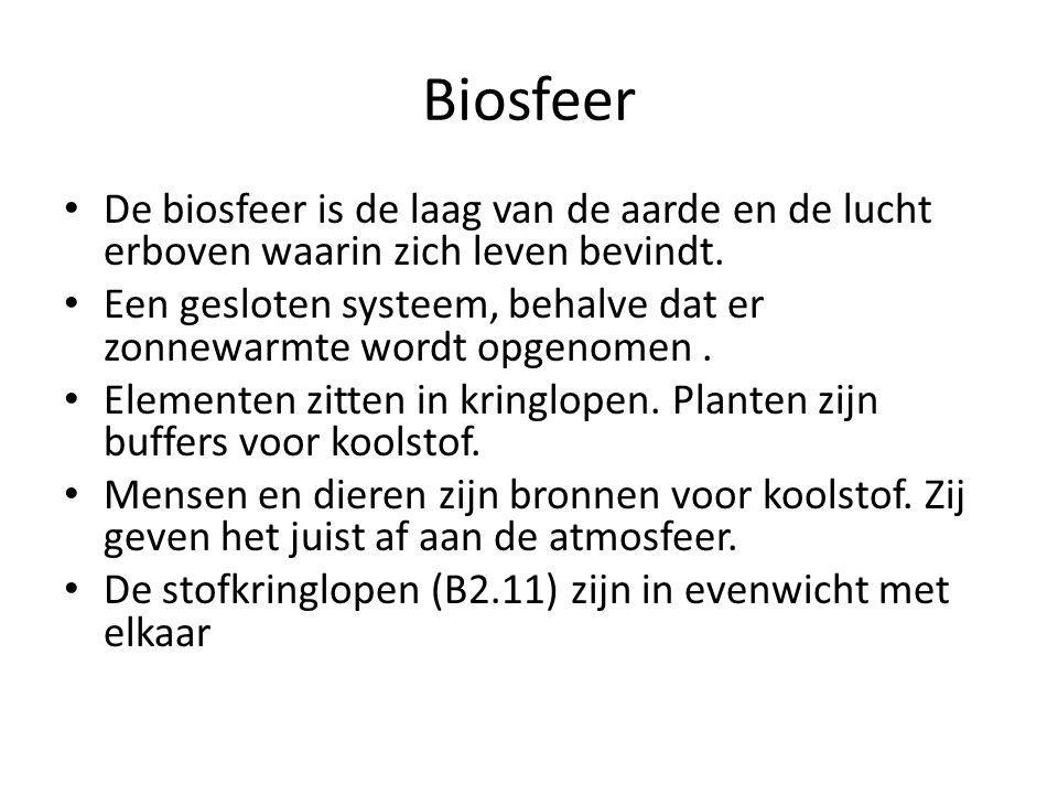 Biosfeer De biosfeer is de laag van de aarde en de lucht erboven waarin zich leven bevindt. Een gesloten systeem, behalve dat er zonnewarmte wordt opg