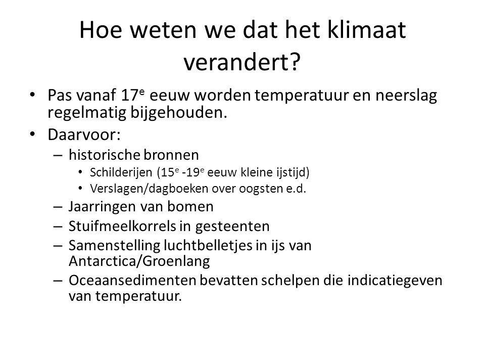 Hoe weten we dat het klimaat verandert? Pas vanaf 17 e eeuw worden temperatuur en neerslag regelmatig bijgehouden. Daarvoor: – historische bronnen Sch