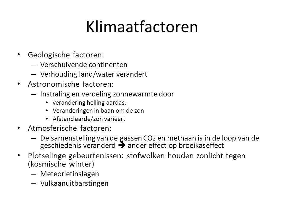 Klimaatfactoren Geologische factoren: – Verschuivende continenten – Verhouding land/water verandert Astronomische factoren: – Instraling en verdeling