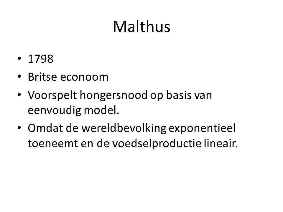 Malthus 1798 Britse econoom Voorspelt hongersnood op basis van eenvoudig model. Omdat de wereldbevolking exponentieel toeneemt en de voedselproductie