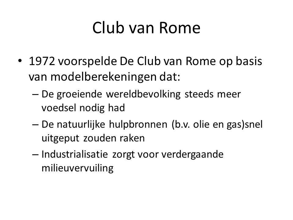Club van Rome 1972 voorspelde De Club van Rome op basis van modelberekeningen dat: – De groeiende wereldbevolking steeds meer voedsel nodig had – De n