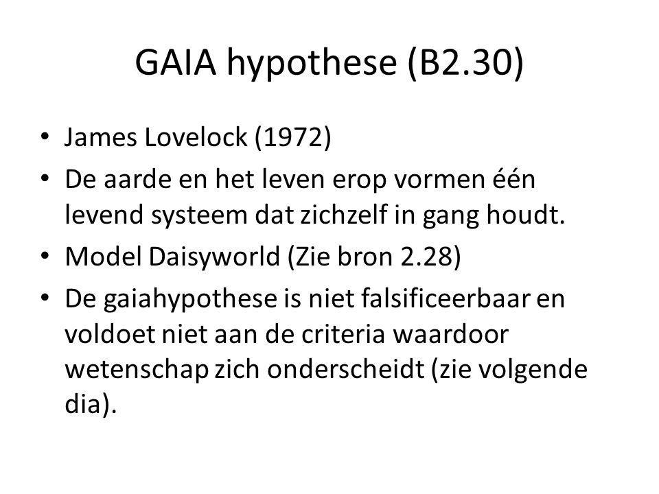 GAIA hypothese (B2.30) James Lovelock (1972) De aarde en het leven erop vormen één levend systeem dat zichzelf in gang houdt. Model Daisyworld (Zie br