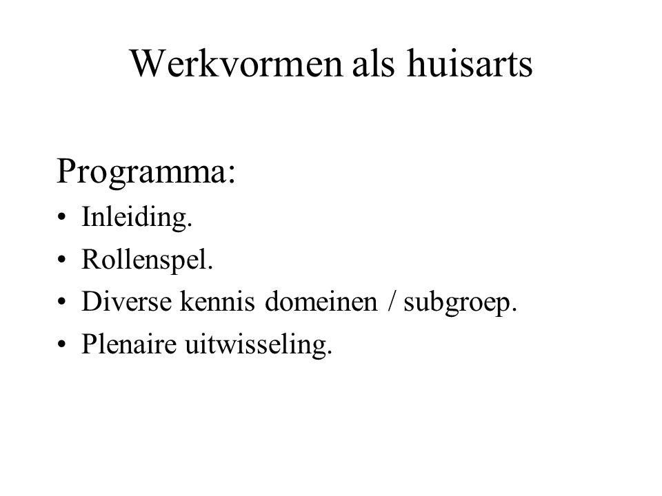 Programma: Inleiding. Rollenspel. Diverse kennis domeinen / subgroep. Plenaire uitwisseling.