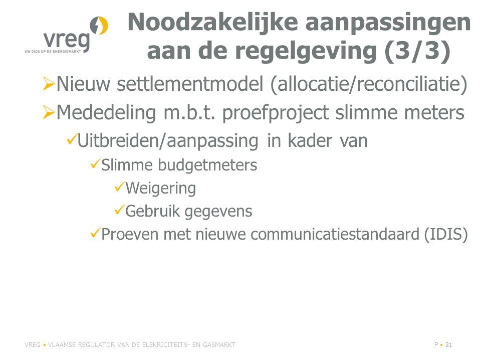 Noodzakelijke aanpassingen aan de regelgeving (3/3)  Nieuw settlementmodel (allocatie/reconciliatie)  Mededeling m.b.t.