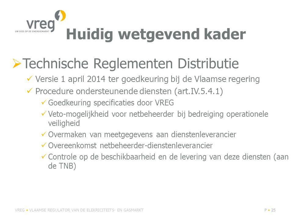 Huidig wetgevend kader  Technische Reglementen Distributie Versie 1 april 2014 ter goedkeuring bij de Vlaamse regering Procedure ondersteunende diensten (art.IV.5.4.1) Goedkeuring specificaties door VREG Veto-mogelijkheid voor netbeheerder bij bedreiging operationele veiligheid Overmaken van meetgegevens aan dienstenleverancier Overeenkomst netbeheerder-dienstenleverancier Controle op de beschikbaarheid en de levering van deze diensten (aan de TNB) VREG VLAAMSE REGULATOR VAN DE ELEKRICITEITS- EN GASMARKTP 25