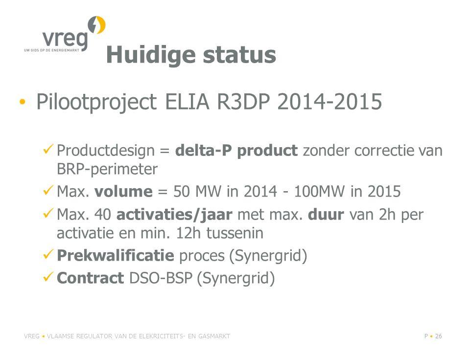 Huidige status Pilootproject ELIA R3DP 2014-2015 Productdesign = delta-P product zonder correctie van BRP-perimeter Max.