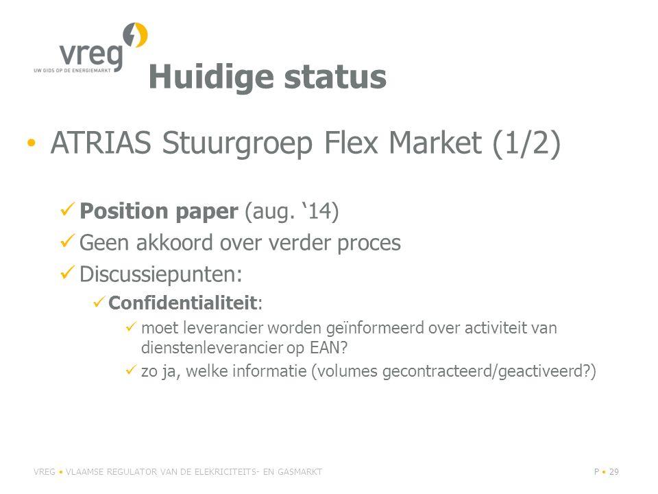 Huidige status ATRIAS Stuurgroep Flex Market (1/2) Position paper (aug.
