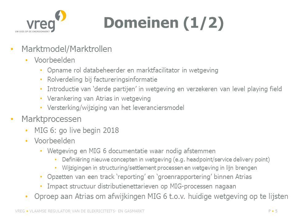Domeinen (1/2) Marktmodel/Marktrollen Voorbeelden Opname rol databeheerder en marktfacilitator in wetgeving Rolverdeling bij factureringsinformatie Introductie van 'derde partijen' in wetgeving en verzekeren van level playing field Verankering van Atrias in wetgeving Versterking/wijziging van het leveranciersmodel Marktprocessen MIG 6: go live begin 2018 Voorbeelden Wetgeving en MIG 6 documentatie waar nodig afstemmen Definiëring nieuwe concepten in wetgeving (e.g.