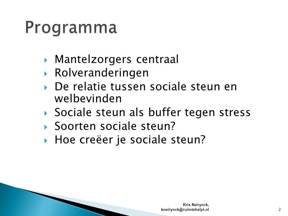  Mantelzorgers centraal  Rolveranderingen  De relatie tussen sociale steun en welbevinden  Sociale steun als buffer tegen stress  Soorten sociale steun.
