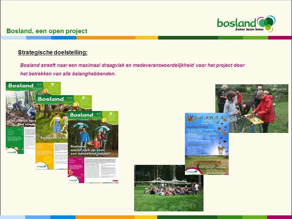 Bosland, een open project Bosland streeft naar een maximaal draagvlak en medeverantwoordelijkheid voor het project door het betrekken van alle belanghebbenden.