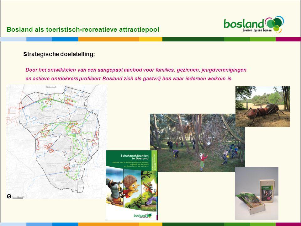 Bosland als toeristisch-recreatieve attractiepool Door het ontwikkelen van een aangepast aanbod voor families, gezinnen, jeugdverenigingen en actieve ontdekkers profileert Bosland zich als gastvrij bos waar iedereen welkom is Strategische doelstelling: