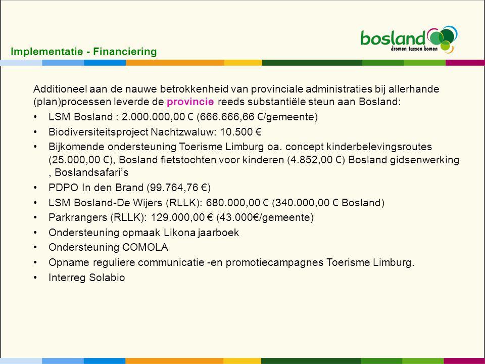 Additioneel aan de nauwe betrokkenheid van provinciale administraties bij allerhande (plan)processen leverde de provincie reeds substantiële steun aan Bosland: LSM Bosland : 2.000.000,00 € (666.666,66 €/gemeente) Biodiversiteitsproject Nachtzwaluw: 10.500 € Bijkomende ondersteuning Toerisme Limburg oa.