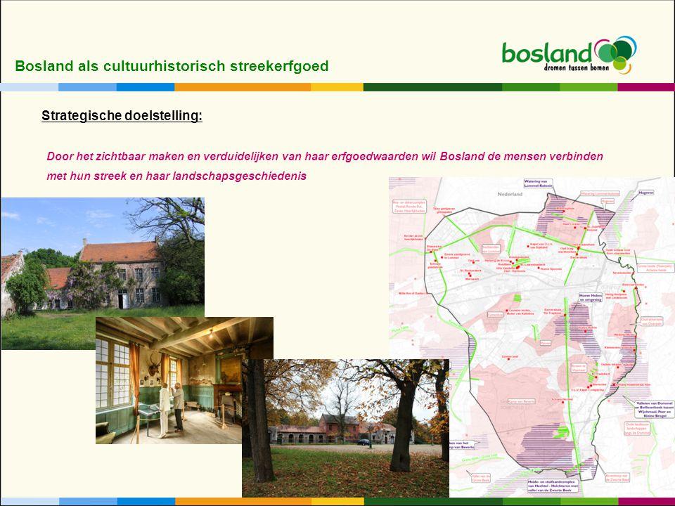 Bosland als cultuurhistorisch streekerfgoed Door het zichtbaar maken en verduidelijken van haar erfgoedwaarden wil Bosland de mensen verbinden met hun streek en haar landschapsgeschiedenis Strategische doelstelling: